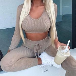 Other - Nude Beige Ribbed Knit Loungewear Tracksuit